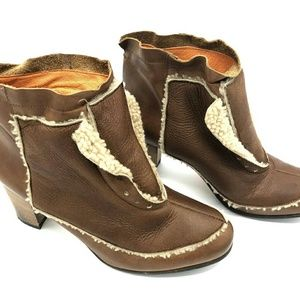 Shoes - Ganzo Shearling And Leather Ankle Boots